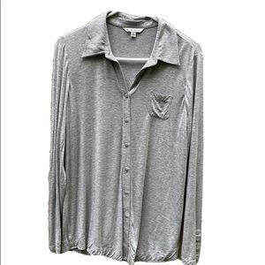 CAbi long sleeve jersey casual button down L